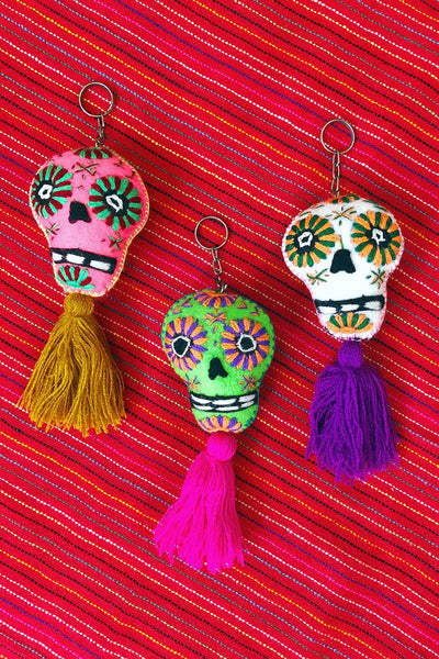 ShopMucho embroidered felt sugar skull keychains with tassel