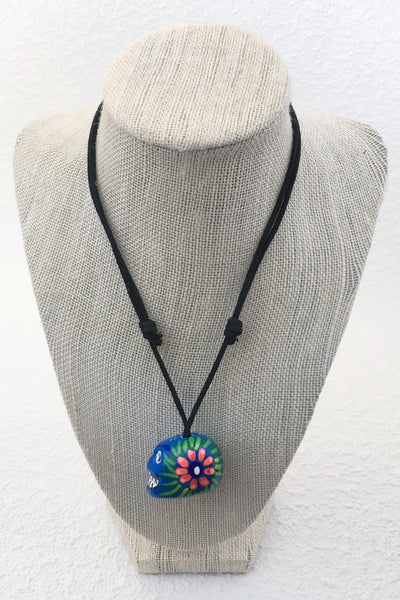 Sugar Skull Necklace in Bright Blue Multi