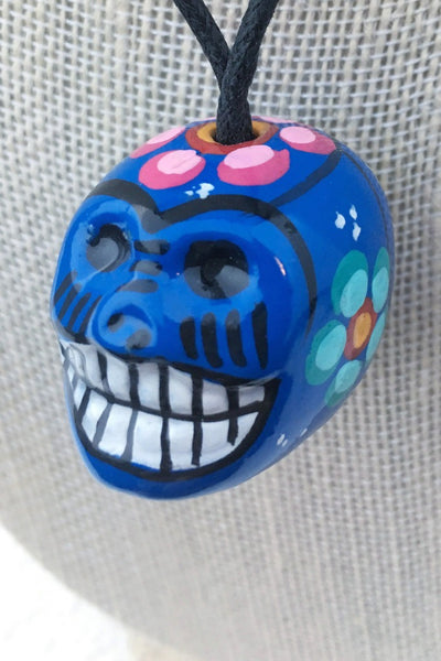 ShopMucho women's ceramic sugar skull necklace in blue multi