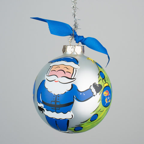 Kansas Santa Glass Ornament