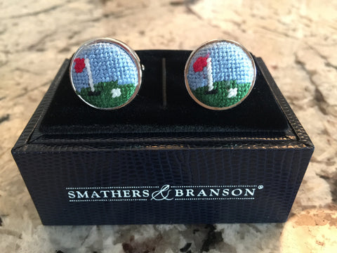 "Golf ""Green"" Needlepoint Cufflinks"