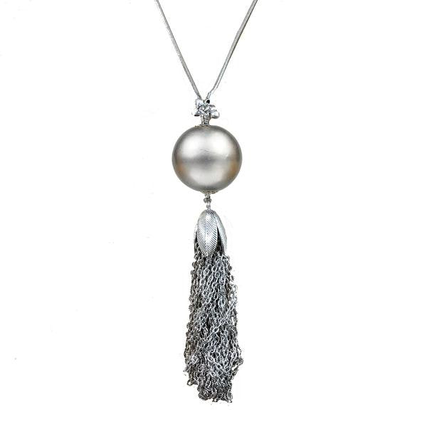 30  Platinum Bauble Tassel Necklace (M2)   in a pinch gifts.myshopify.com