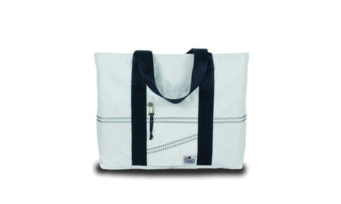 Newport Medium Tote (White With Blue Trim)   in a pinch gifts.myshopify.com
