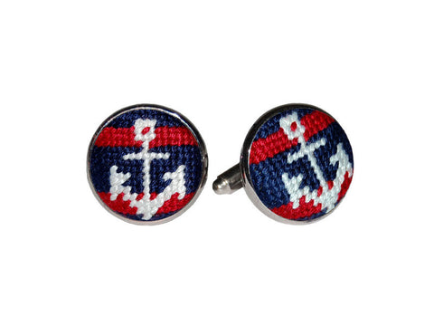 Striped Anchor Needlepoint Cufflinks   in a pinch gifts.myshopify.com