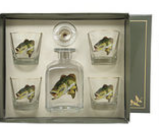 Bass Decanter Set w/4 Tapered Old Fashioned; gift boxed