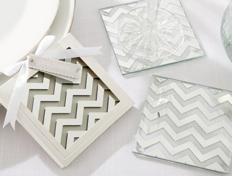 """Shimmer and Shine"" Silver Chevron Coasters -Set of 2"