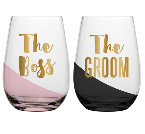 20oz S/2 Stemless Wine The Boss The Groom
