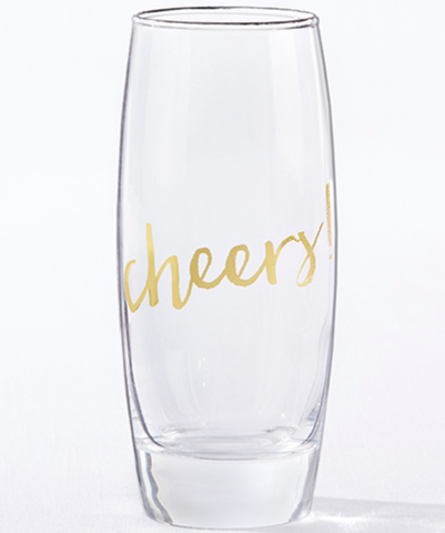 GOLD CHEERS 12 OZ. STEMLESS CHAMPAGNE GLASS (SET OF 4)