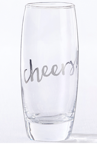 SILVER CHEERS 12 OZ. STEMLESS CHAMPAGNE GLASS (SET OF 4)
