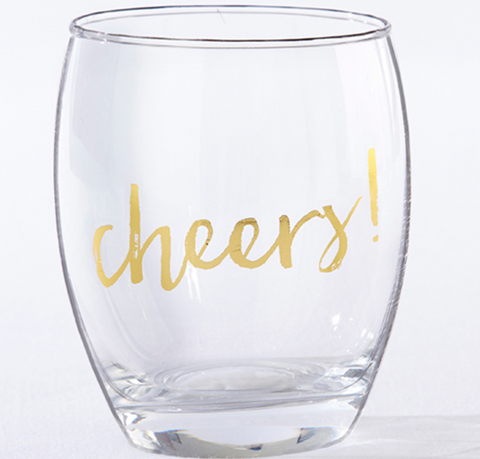 GOLD CHEERS 12 OZ. STEMLESS WINE GLASS (SET OF 4)