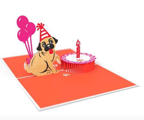 Pug Birthday Cake Smash 3D card