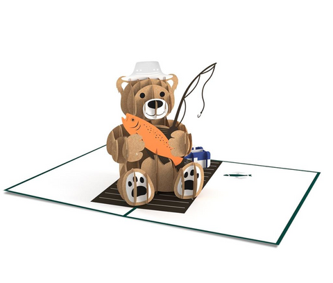 Fishing Bear 3D card
