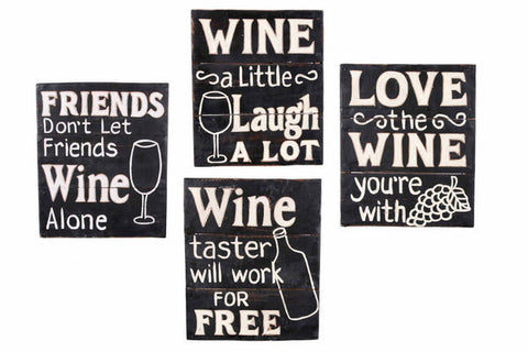 Wine Sayings Wood Plank Sign
