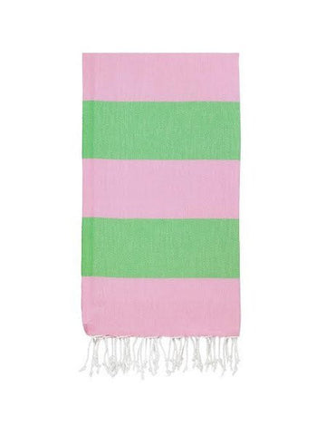 Bold Stripe Turkish Towel (pink green)