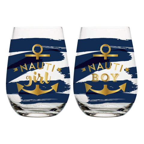20oz S 2 Stemless Wine Nauti Girl   Boy   in a pinch gifts.myshopify.com