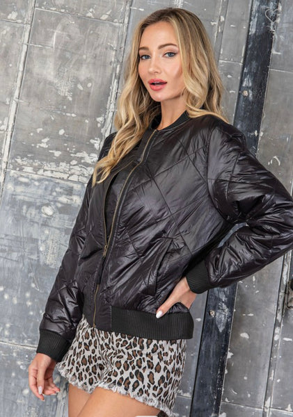 Black Quilted Bomber