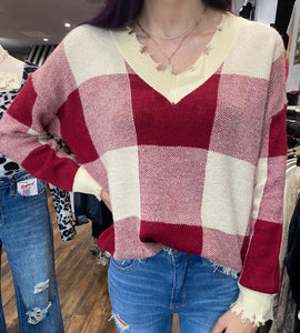 Wine Plaid Distressed Sweater