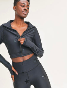 Black Star Foil Cropped Jacket