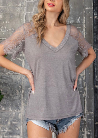 Lace Trim V Neck