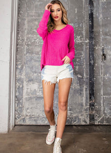 Hot Pink Ribbed V Neck
