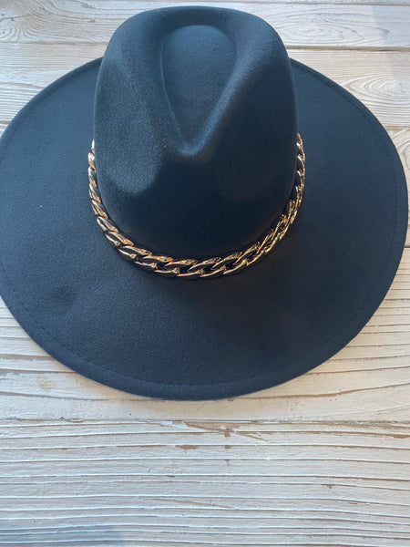 Black Chain Felt Hat