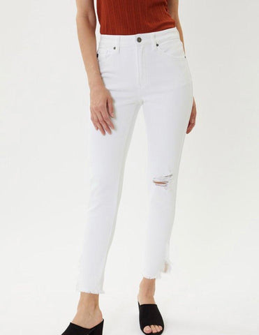 High Rise Fray Hem Ankle Skinny