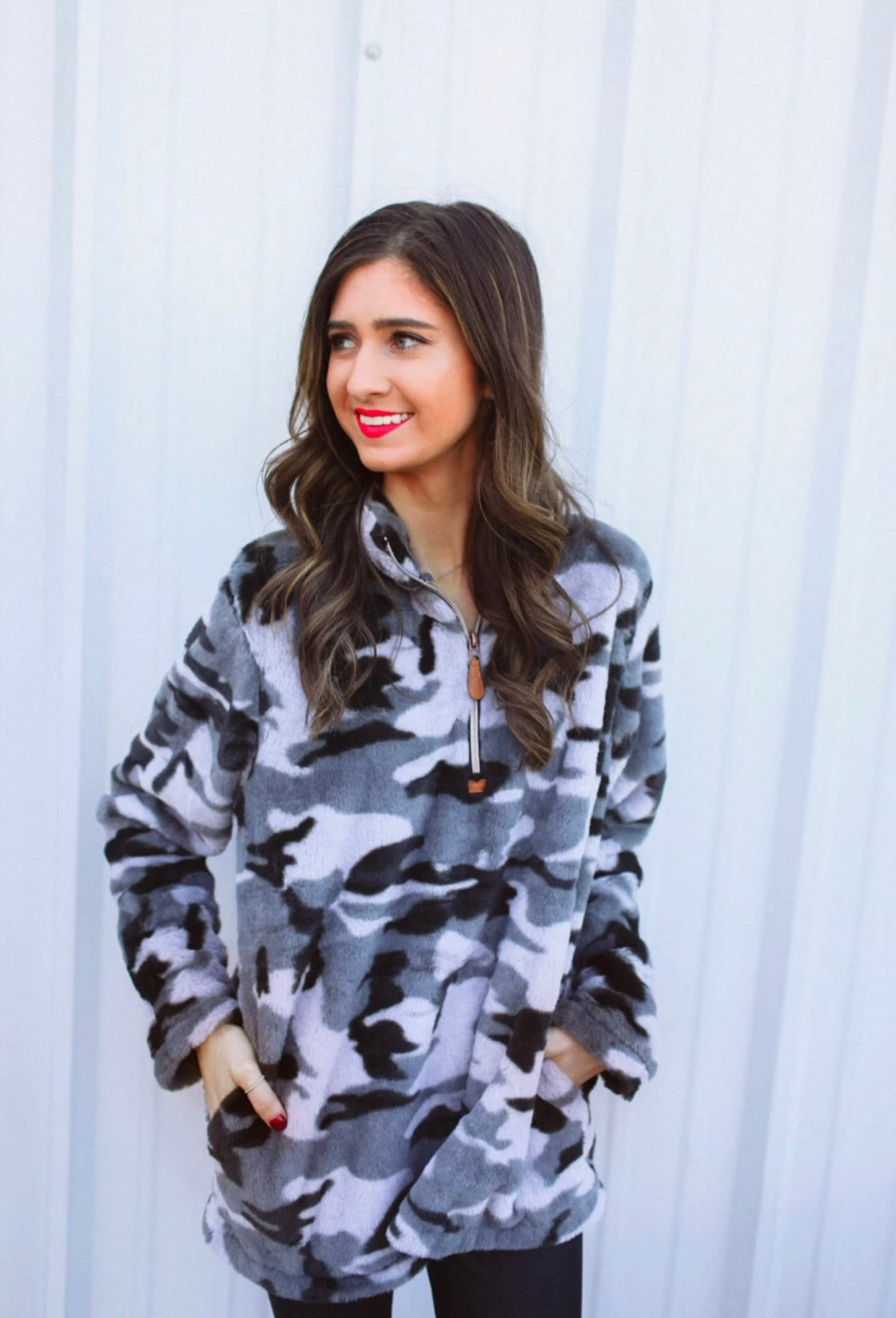 Hunter Grey Camo Faux Fur Pullov
