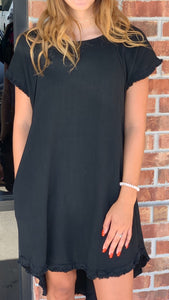 Linen Black Fringe Pocket Dress