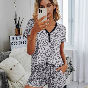Grey Leopard Lounge Set