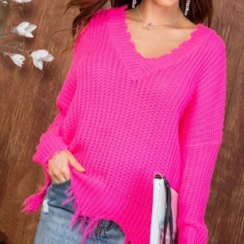 Neon Pink Frayed V Neck Sweater