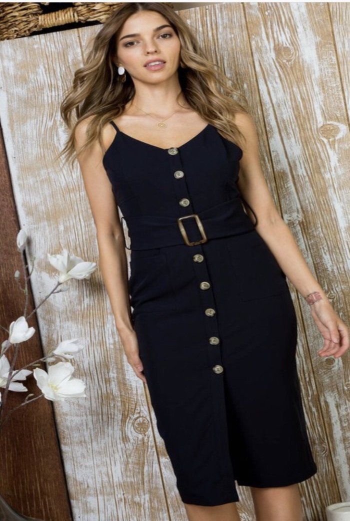 Front Button Waist Belt Dress