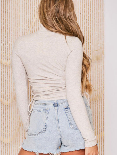 Long Sleeve Rib Cutout Mock Neck