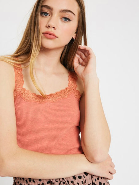 Ribbed Lace Tank
