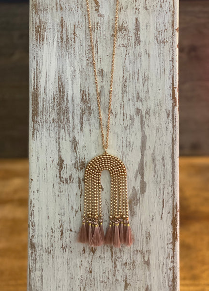 Gold Beaded Chain & Tassel