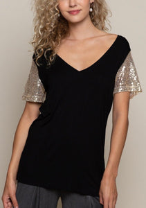Sequin V Neck