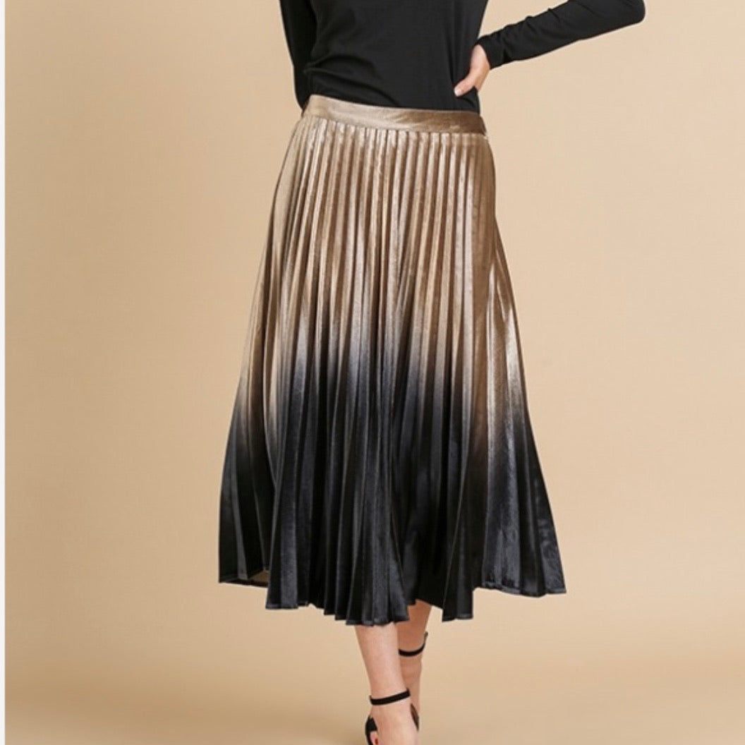 Ombre Pleated Velvet Midi Skirt