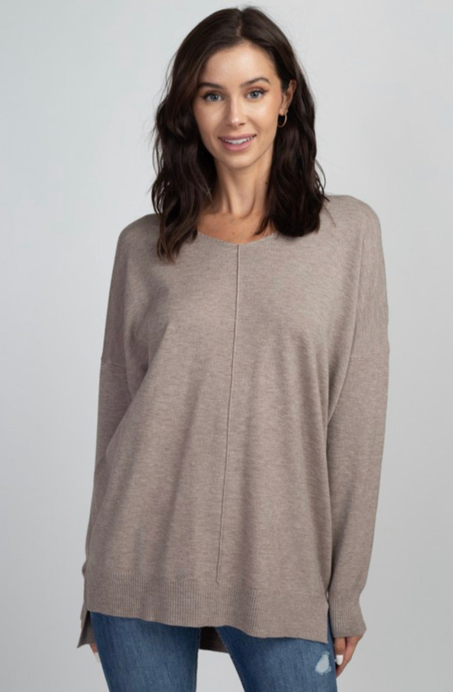V Neck Front Seam Sweater