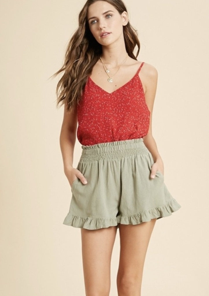Red Crinkle Cami