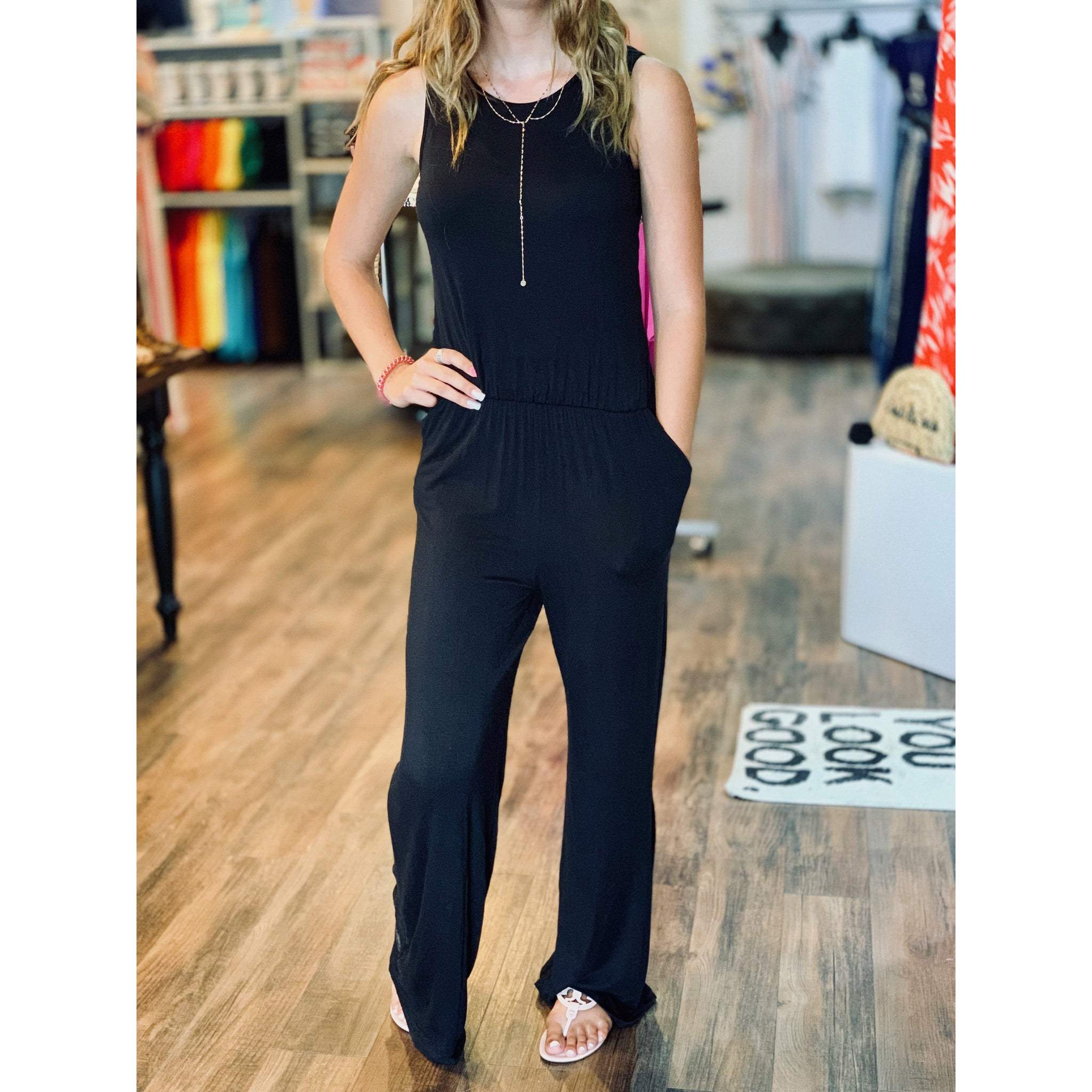 Black Jumpsuit w Key Hole Back