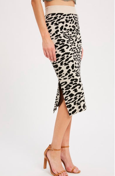Cream Combo Leopard Skirt