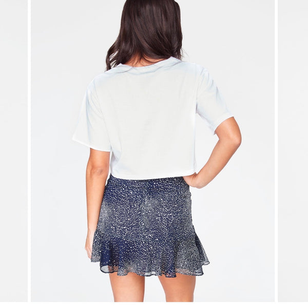Navy Ruched Mini Skirt