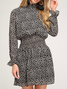 Black Printed Woven Dress