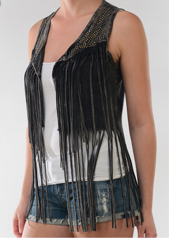 Brown Bejeweled Fringe Vest