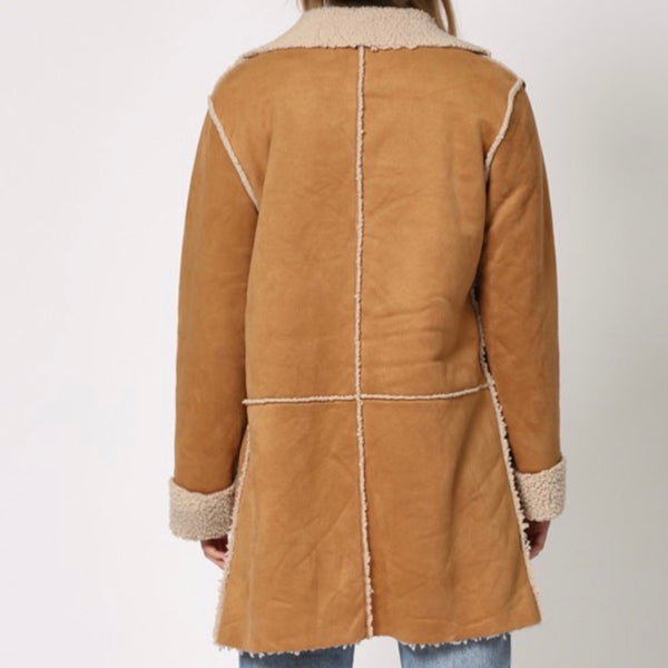 Camel Long Suede Shearling Jacket