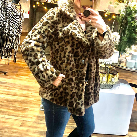 Leopard Collared Fur Jacket