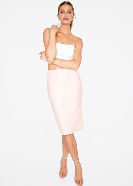Blush Faux Leather Skirt