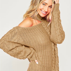 Taupe Cable Knit Open Neck
