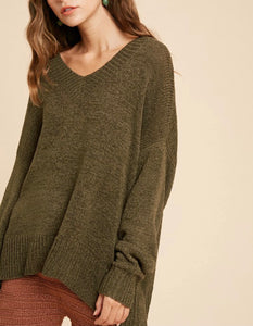 Olive V Neck Sweater