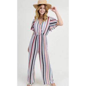 Red Mix Stripe Jumpsuit