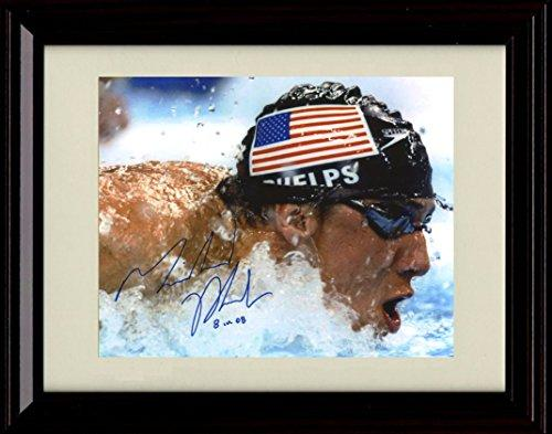Framed Michael Phelps Autograph Replica Print Most Decorated Olympian Ever